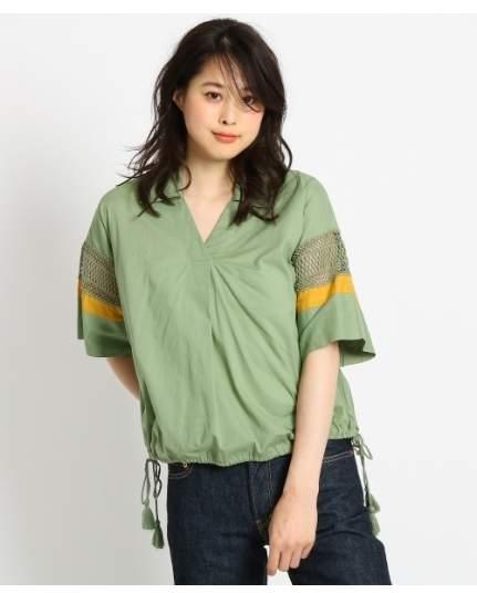 Dessin (デッサン) - Ladies [洗える]インド刺しゅうレーススリーブシャツ